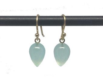 Peruvian Aqua Chalcedony Acorn Earrings - 18k Ear Wires