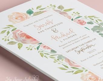 Printable Wedding invitation - Watercolor Fresh and Floral