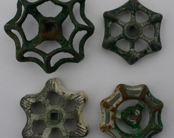 Vintage Valve Handles~ Sweet Patina Snowflake Sampler ~ Set of 4 green patina Handles ~Shipping Special ~ Artsy Handles~ Altered Art~Collage