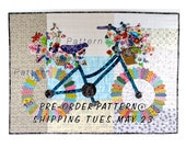 PRE ORDER - Ship May 23 Whimsical Bicycle Art Quilt  Original Design Wall Art Cycle Art Modern Floral Bike by Sally Manke, Fiber Artist