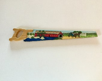 """SALE Vintage Hand Painted Wooden 12"""" Saw Magnet, Rustic, Country, Covered Brige & Horse Carriage Scene,  Shipping USA"""