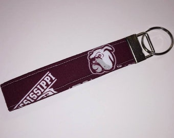 Mississippi State Bulldogs Football Print Key Fob, Key Chain, Key Ring, Gifts under 10, Purse Accessory