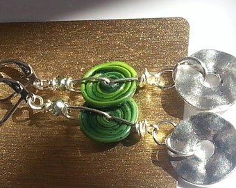 Stainless steel earrings with handmade,lampwork glass,disc beads