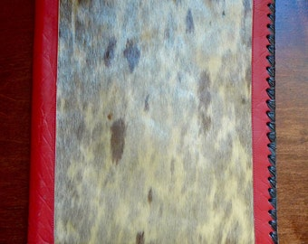 Vintage 1940s Handmade Icelandic Red Leather and Fur Folded Portfolio Whip-Stitch Pocket