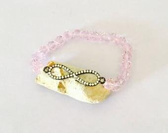Infinity Bracelet, Pink crystals, stretchy, beaded, layering, handmade, item no. De 432