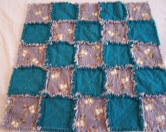 Monkey Baby Rag Blanket - Monkey Baby Blanket - Monkey Blanket - Baby Rag Blanket - Rag Blanket - Blue and Gray Blanket - Baby Gift
