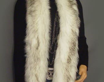 Faux fur scarf faux fur boa in Alaskin Husky, faux fur wrap, fur shrug coat collar winter scarf vintage long fur retro winter stole ACF101