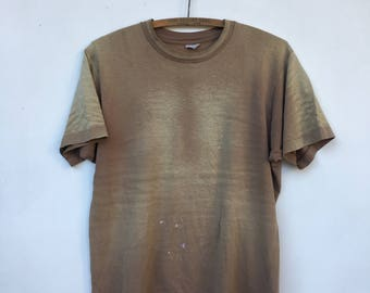 Vintage DISTRESSED Faded Army Brown T Shirt M