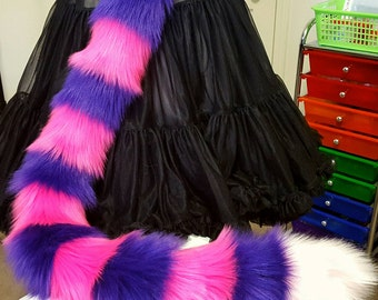 Hot Pink and Purple Stripe Cat Tail