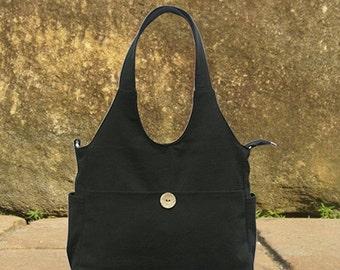 March Sale 10% off Black canvas tote bag, diaper bag, hand bag, shoulder bag, canvas messenger bag