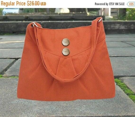 Mothers Day Sale 20% off orange cross body bag / messenger bag / shoulder bag / diaper bag  - cotton canvas