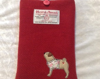 "Pug e-reader case, kindle paperwhite 6"", kindle voyage, kobo touch, kobo glo case, sleeve, red Harris Tweed, embroidered pug, pug lover"