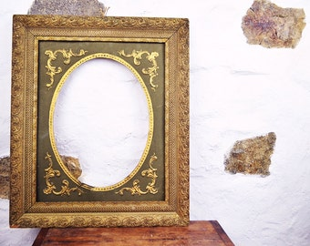 Antique French Picture frame gilt large with insert gold embossed portrait oval
