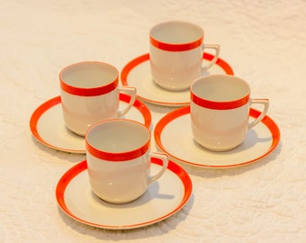 Mid Century Modern Tea Cups and Saucers Made in Czechoslovakia