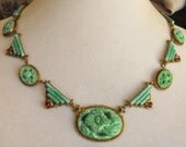 Large Peking glass 'carved' pendant with Deco Nouveau motif  Czech green glass and amethyst glass