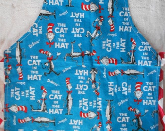 Dr. Seuss Inspired Child Apron - Cat in the Hat Inspired Apron - Adjustable Apron - Red and White Chevron Reversible Apron  - Ready to Ship