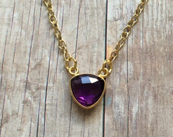 Gorgeous amethyst triangle necklace