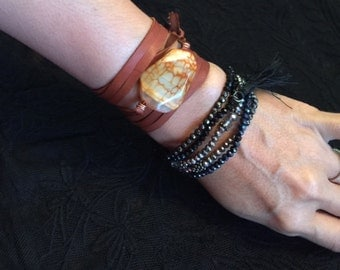 Agate Leather Wrap Bracelet/Choker/Belt