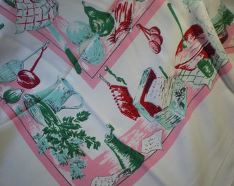 Vintage Pink Aqua Green and Red Kitschie RetroTablecloth