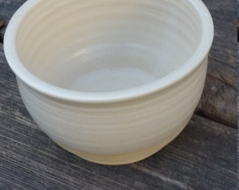 Pottery Bowl white modern simple bowl holds 12 ounces unglazed base