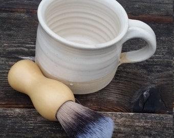 Pottery handmade shaving mug with brush  in country kitchen white modern simple