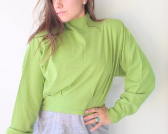 1990s CLUELESS Crop Top....size medium large womens..olive. top. green. summer. colorful. hipster. urban. hippie. boho. 90s clothing.
