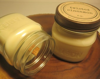 Twisted Cinnamon 8 ounce Soy Mason Jar Candle // Wood Wick // Spice/Winter/Holiday Candle