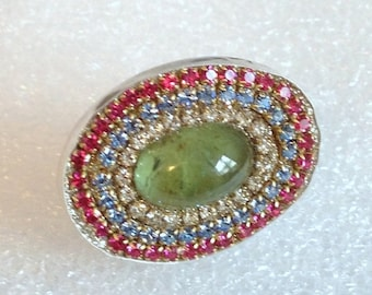 SUPER SALE Green Prehnite Cab and multi crystal sterling silver ring