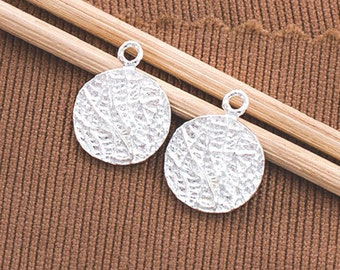 2 of 925 Sterling Silver Textured Disc Charms 11 mm.  :th2541
