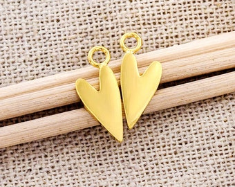 2 of 925 Sterling Silver 24K Gold Vermeil Style Heart Charms 6x12 mm. :vm0889