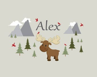 Mountain Wall Decal,Woodland Wall Decals, Mountain Wall Decor,Moose, Animal Wall Decals, Name Decal-Reusable Wall Decals-Wall Stickers