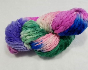 Thick 'n Thin Bulky Weight Hand Dyed Yarn - 4 ounces/125 yards - Spearmint Green, Orchid, Purple, Pink and Blue