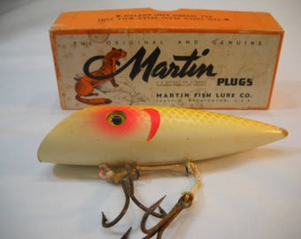 "5 1/4"" Martin Wood Salmon Plug Fishing Lure Yellow Silver Scale in Box FREE SHIPPING"
