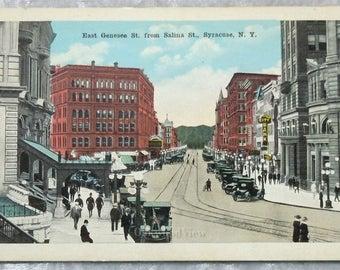 Syracuse N.Y. East Genesee from Salina Street Postcard, Upstate New York, Antique Ephemera c1915, FREE Shipping