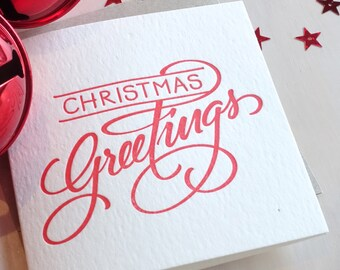 Letterpress Christmas card, Hand lettered, Merry Christmas, Christmas greetings, elegant traditional style, in RED or GOLD Made in Australia