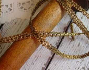 Gorgeous old ANTIQUE metallic narrow gold braid trim, one yard with more available