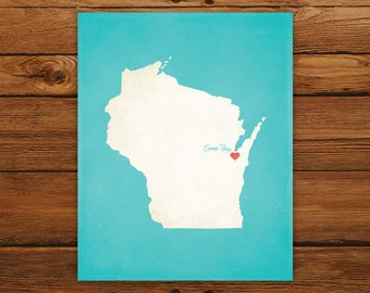 Customized Printable Wisconsin State Map - DIGITAL FILE, Aged-Look Personalized Wall Art