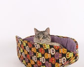 Halloween Pet Bed in Sugar Skulls and Spiders fabric - the Cat Canoe