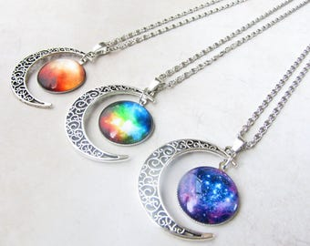 Galaxy Necklace, Moon Necklace, Space Necklace, Nebula Necklace, Cosmos Necklace, Rainbow Necklace, Star Necklace, Orgon Charged, Energy