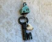 Key Necklace, House Key Necklace, Rustic Vintage Key Necklace, House Home Necklace