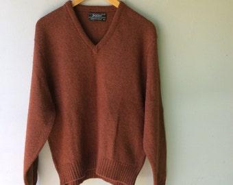 Vintage MENS V Neck Rust Sweater // Med