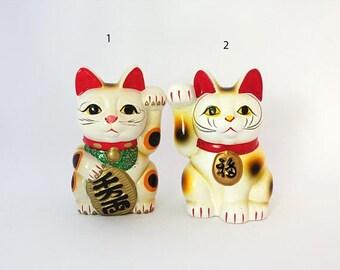 ON SALE Vintage Japanese Maneki-neko white lucky cat ceramic figurine piggy bank, beckoning cats