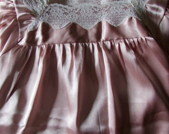 Vintage Givenchy Pink Satin and Lace Night Silky Gown Gift for Her