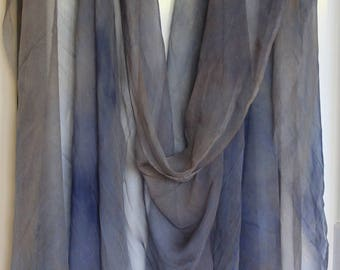 Tissue Silk fabric (chiffon) hand dyed