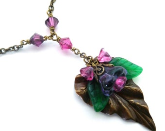Flower leaf pendant necklace, antiqued brass, plum fuchsia green Austrian crystal beaded chain, Czech glass flower dangles, woodland jewelry
