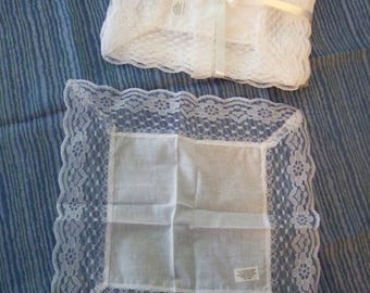 Vintage style white handkerchief with lace; all cotton; buy 2, 6 or 12 per lot