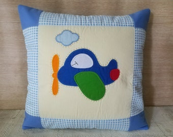 Airplane Kid Pillow Cover, Aviation Decorative Pillowcase, Plane Cushion Cover, Nursery Throw Pillow,  Quilted Pillow Slip