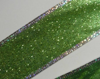 Lime Green and Silver Wire Edge Ribbon 5 1/2 Yards