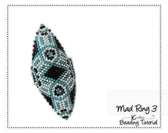 Beading Pattern Peyote Stitch Shield Shaped Triangle Tribal Rings Charted Instructions DIY beaded Jewelry Tutorial PDF Download MADRING 3