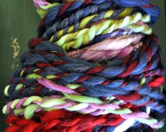 Yarn Handspun Hand Spun Hand Dyed Super Bulky Ribbon Navy Blue Maroon Gold Green Knitting Supplies Crochet
